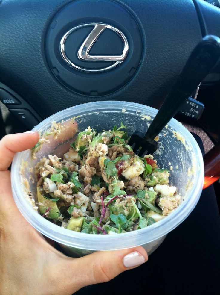 Paleo on the go! -  1 can tuna, 1 avocado, 2 hard boiled eggs, cherry tomatoes, microgreens