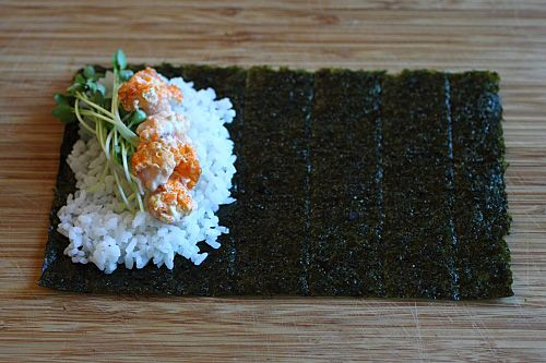 Hand Roll, but instead fill with avocado and salmon
