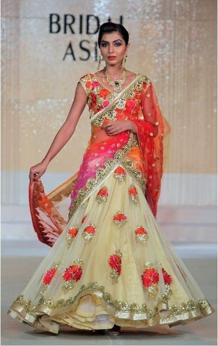 cream and orange lengha