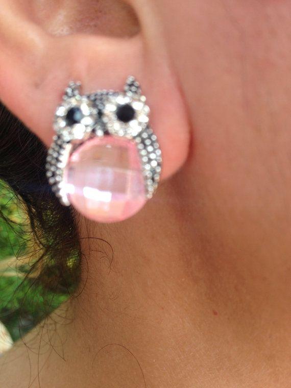 Earring, Owl Earrings, pink  Earring, owl jewelry, Owl, Brass Owl, Brass Earring, gift for here