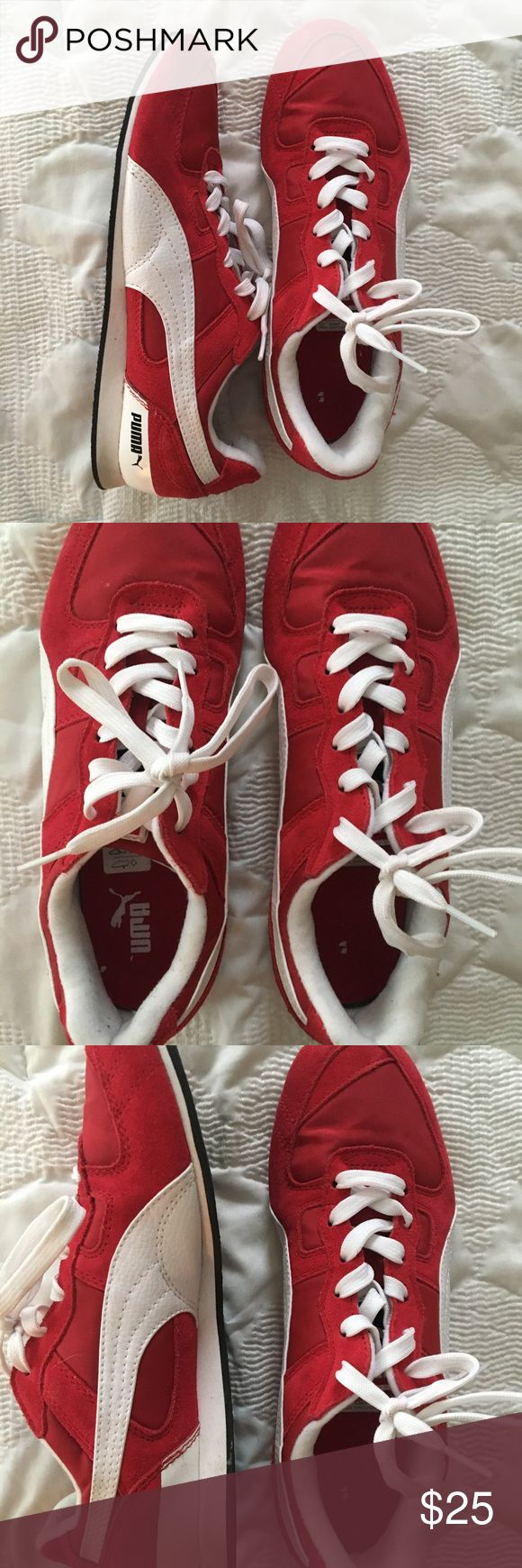 Vintage looking red puma tennis shoes! Brand new never worn! Unique looking!! Fits size 8 too! Puma Shoes Sneakers