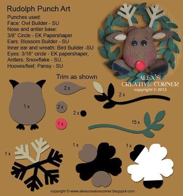 Alex's Creative Corner: Rudolph punch art instructions
