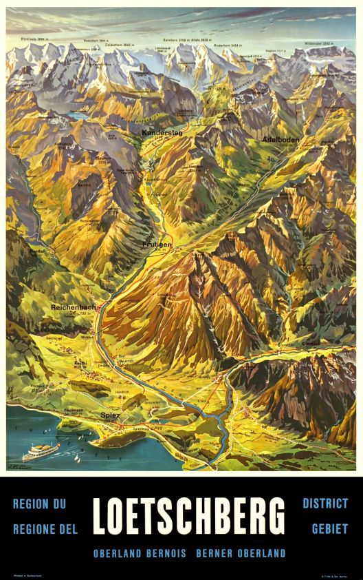 Loetschberg District, Oberland Bernois by Koller Louis / 1960. 'Loetschberg railways' map-poster showing the Lake of Thun, Spiez, Adelboden and the Bernese Oberland in the Swiss Alps. The Loetschberg tunnel is joining the canton of Bern to the Valais (Wallis) and then Italy through the Simplon tunnel.