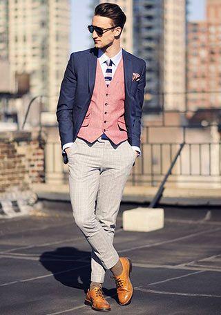 革靴の着こなし・コーディネート一覧【メンズ】 | Italy Web ネイビージャケット×キャメル色レザーシューズのきれいめコーデ