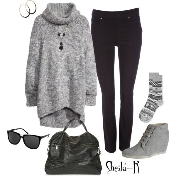"""""""Winter Outfit-Over 40 Fashion"""" by sheila-r on Polyvore SWEATER AND JEGGINGS"""
