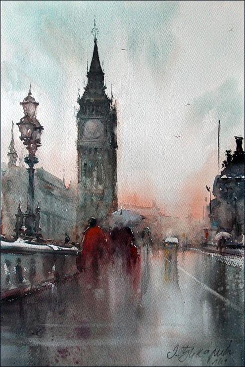 Dusan Djukaric     Big Ben, watercolor 36x54 cm