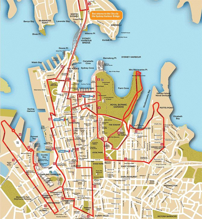 Bondi and Bay Explorer Route Map