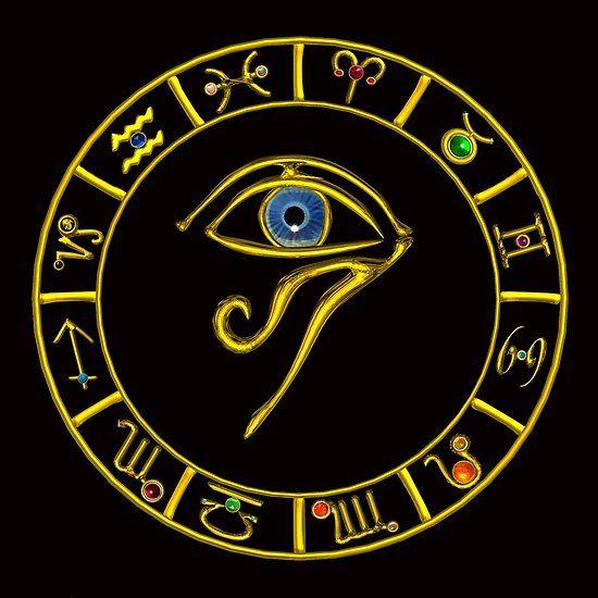 ASTRAL HORUS EYE ,BLUE TALISMAN ,GOLD ZODIACAL SIGNS ASTROLOGY CHART #astrology #astrologist #zodiac #3d #horus #eye #divinity #egyptian #egypt #tarots