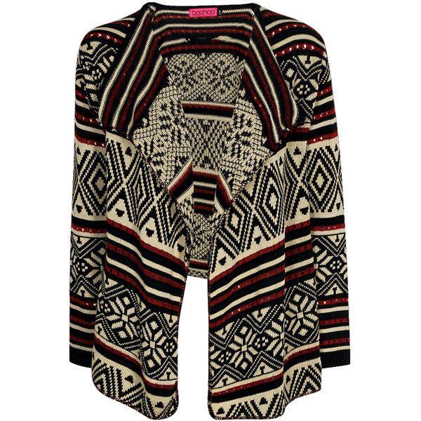 Boohoo Amelia Aztec Waterfall Cardigan ($26) ❤ liked on Polyvore featuring tops, cardigans, jackets, outerwear, sweaters, waterfall tops, aztec pattern cardigan, short-sleeve cardigan, aztec print cardigan and aztec sleeve cardigan