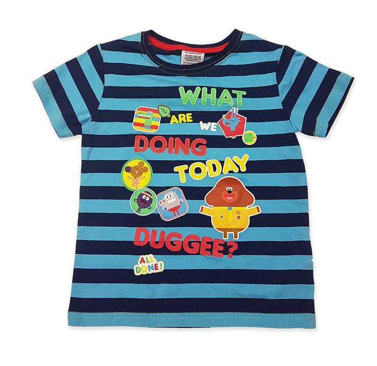 View product image in popup: Hey Duggee - Kids Blue Stripe T-Shirt [Size: 2]