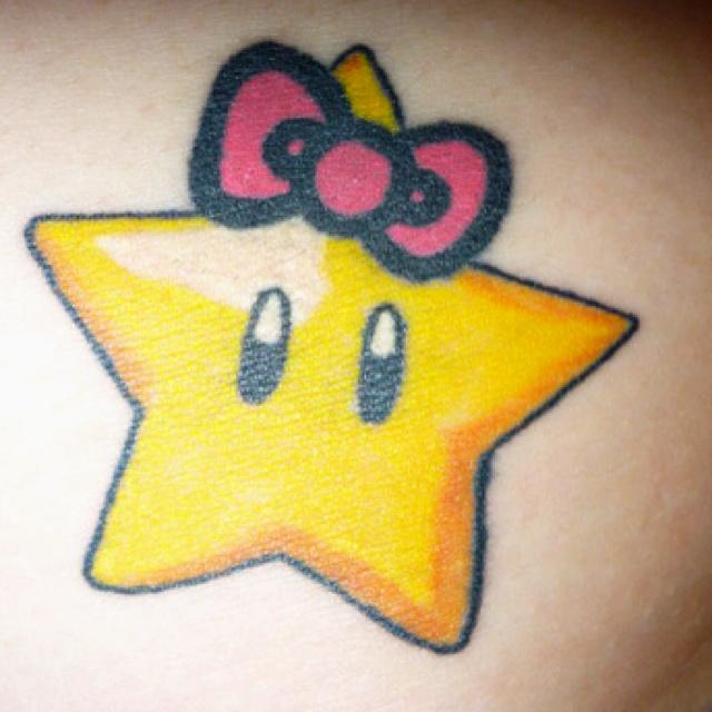 Tribal Hello Kitty: Mario Star + Hello Kitty Bow Tattoo, WANT!