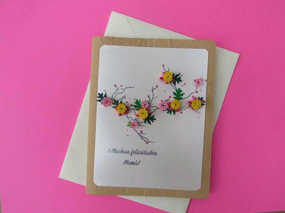 Tarjeta de felicitación para mamá  Tarjeta floral  Tarjeta