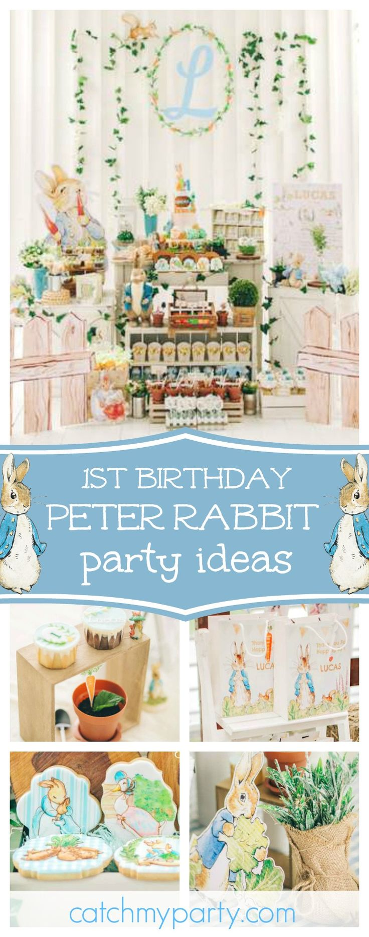 Don't miss this amazing Peter Rabbit 1st birthday party! The decor is incredible!! See more party ideas and share yours at CatchMyParty.com