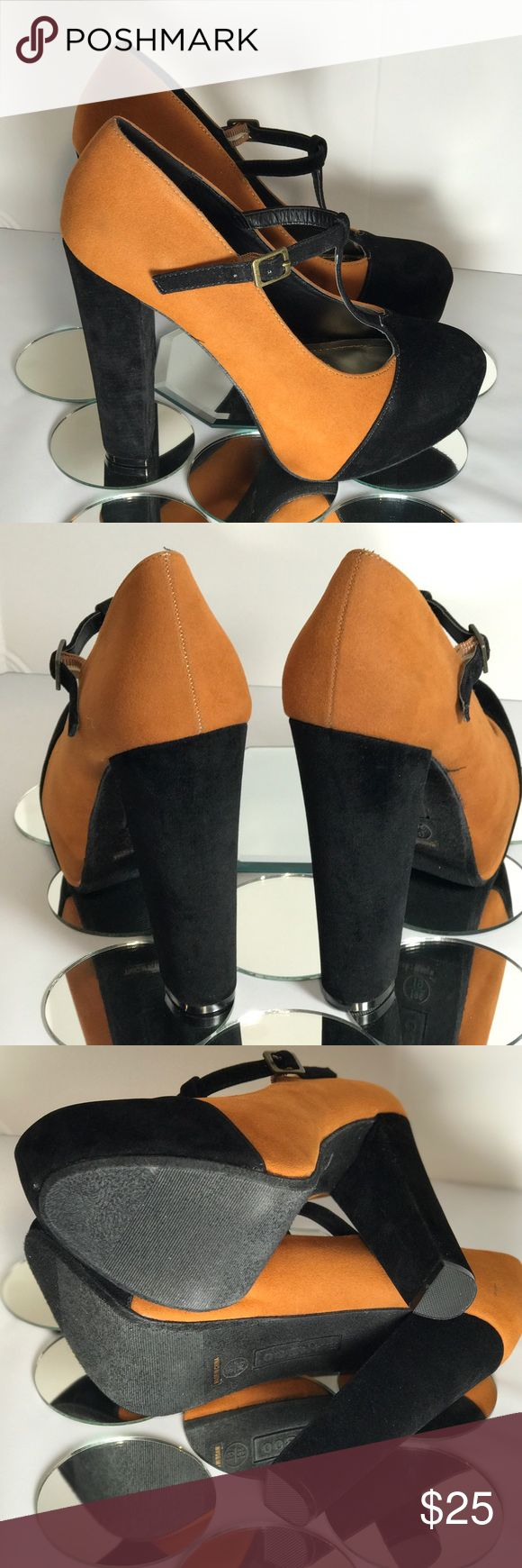 Two Tone Faux Suede Chunky Heel by Bamboo New With Out Tags. Classic and cute and sturdy heel. Has a strap on top of the foot. Perfect condition except for a minor scuff on the inside right heel and small rub on the bottom right inside front, see the last picture. Bamboo Shoes Heels