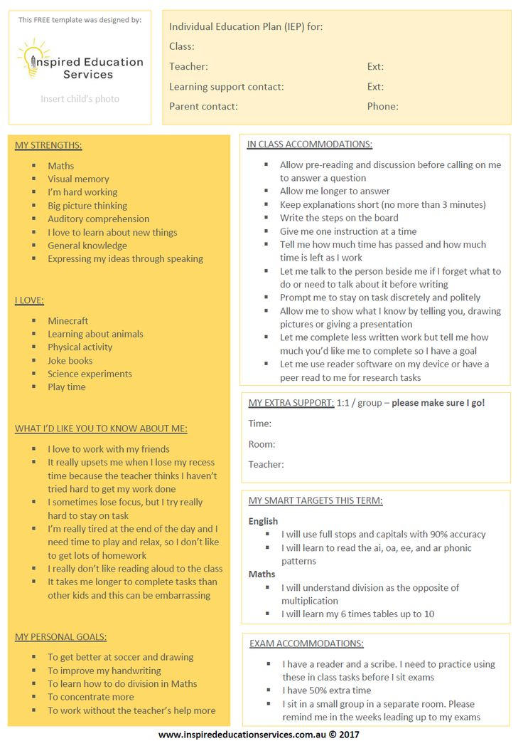 Download this free, simple Individual Education Plan (IEP) template to summarise your child's needs for the school or to support a student in your class.