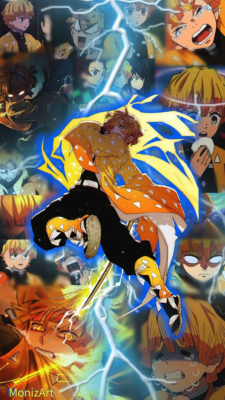 Zenitsu kimetsu no yaiba wallpaper, papel de parede, demon