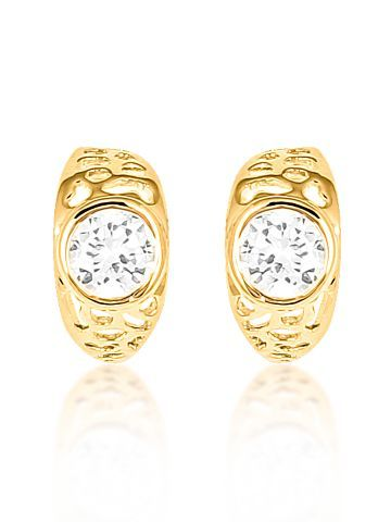 18K Gold Plated Oval Solitaire Cz Diamond Earrings For Women.