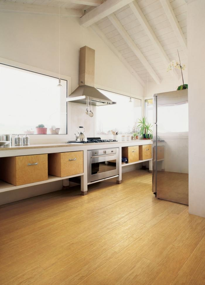 Plywood boxes as kitchen storage