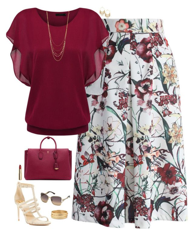 """Burgundy"" by julietajj on Polyvore featuring Chicwish, VC Signature, Lydell NYC, MCM, Chico's, Swarovski and H&M"