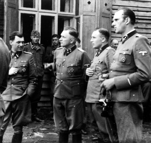 On the far left is Dr. Josef Mengele, the SS officer who selected the Jews to be gassed