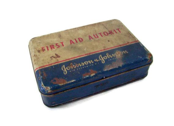 Vintage 1940's First Aid Kit Autokit with Contents Johnson