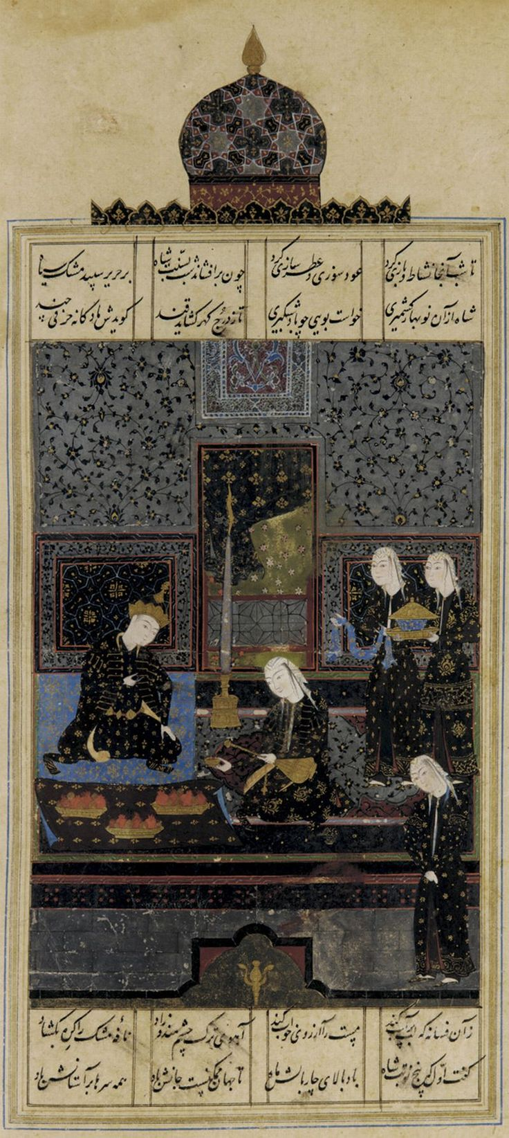Folio from a Khamsa (Quintet) by Nizami; verso: Bahram Gur and the Indian princess in the black pavilion  1548  Found on yama-bato.tumblr.com