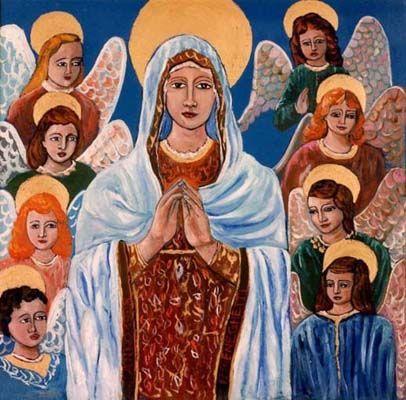 Madonna con angeli - olio su tela (35x35 cm)