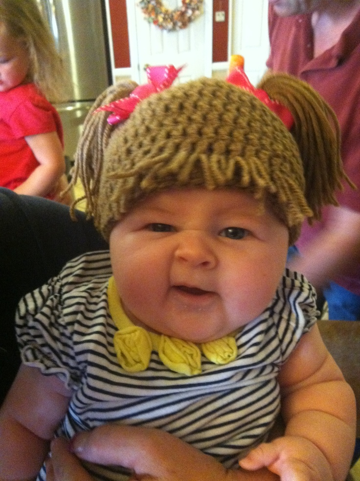my daughter in her cabbage patch kid halloween costume i made for her she looks like a real life cabbage patch girl - Cabbage Patch Halloween Costume For Baby