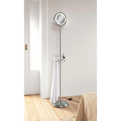 Spiegel-Butler Beleuchteter Kosmetikspiegel, praktische Ablage und Handtuchhalter in einem. Höhenverstellbar von 170-183 cm.