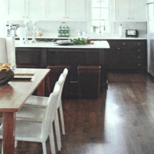 Love This Kitchen The Beams Wood Floors White Cabinets: Cypress Beams, Wood Floors Darkened With Walnut And Ebony Stains, And Dark Brown Lower Cabinets