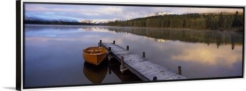 Canvas with Floating Frame entitled Boat moored at a pier, Hector Lake, Mt John Laurie, Rocky Mountains, Kananaskis Country, Calgary, Alberta, Canada, Silver