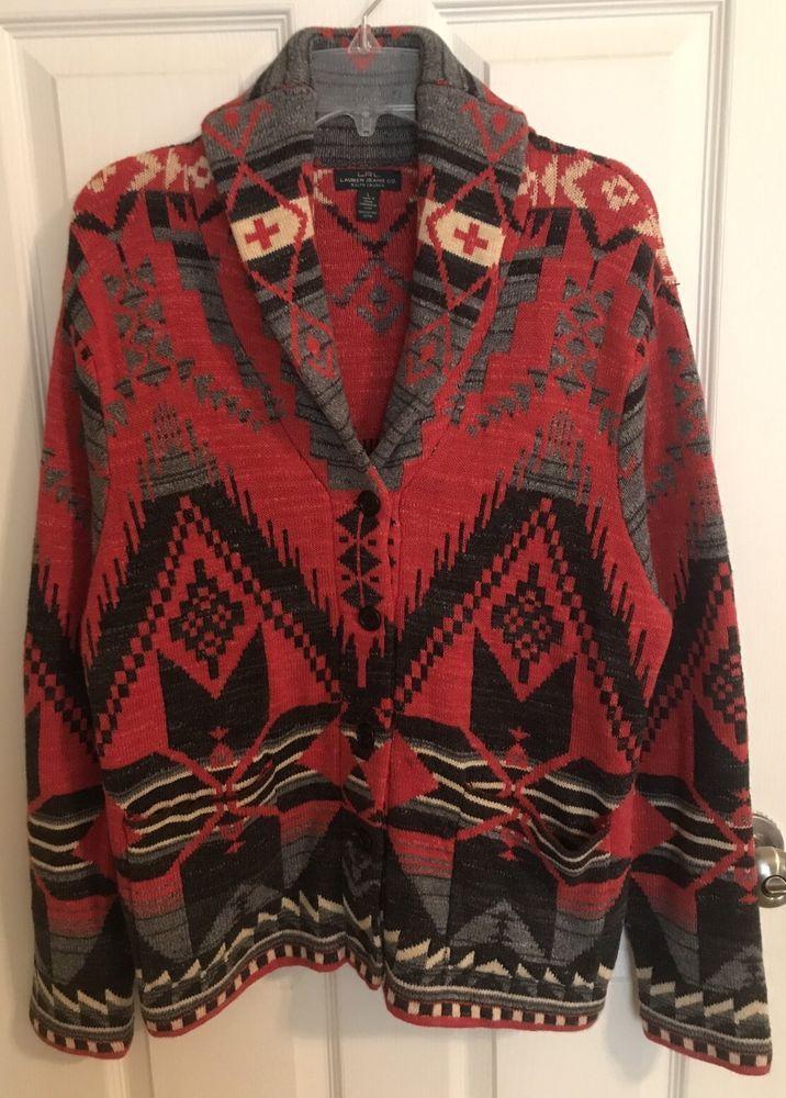 Ralph Lauren Jeans Co Southwestern Aztec Indian Tribe Shawl Collar Cardigan L #RalphLauren #Cardigan #Casual