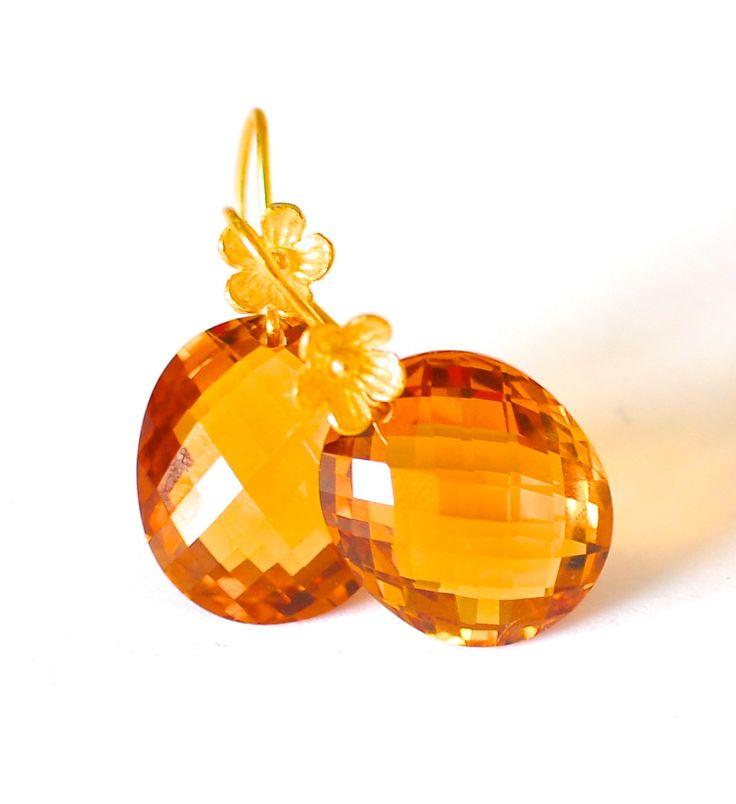 "Orange Citrine Earrings ""Sunrise"" - Handmade Jewelry - Renate Exclusive - 1"