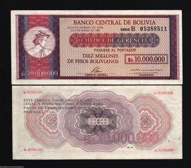 BOLIVIA 10,000,000 PESOS 10000000 P192B 1985 10 MILLIONS HIGH DENO AUNC CURRENCY | eBay-0 Sold, 2 Asking $56 & 67 each - 3/2017