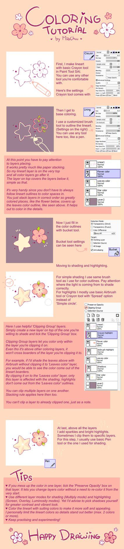 [T] Coloring Tutorial in Paint Tool SAI by MiiaChuu.deviantart.com on @DeviantArt