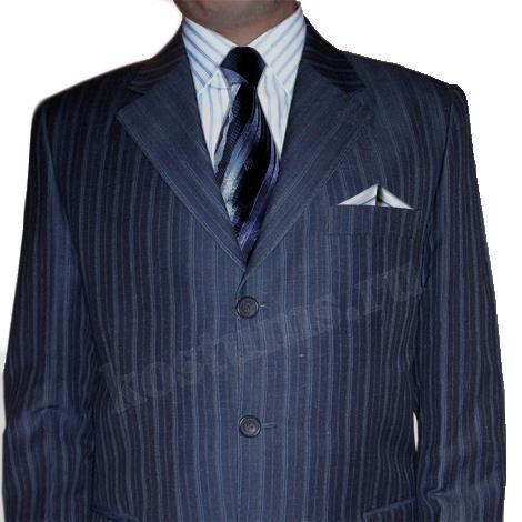 Синий мужской костюм в полоску