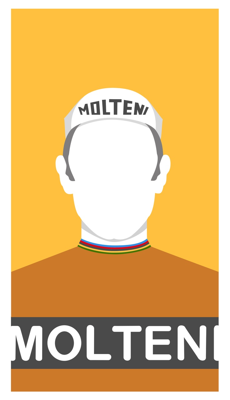An illustration of Eddie Merckx created using Sketch