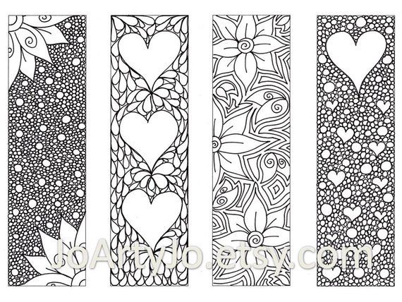 Valentine S Bookmarks To Print And Color Zentangle Inspired