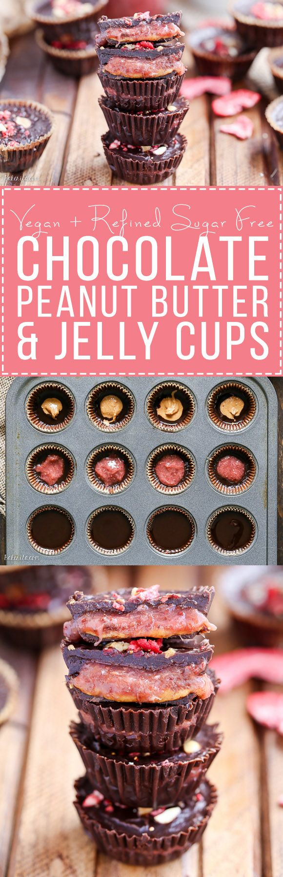 These Chocolate Peanut Butter & Jelly Cups are homemade peanut butter cups with an added layer of jam or jelly! This healthier candy recipe is only 5 ingredients, and uses an easy refined sugar free chocolate recipe.