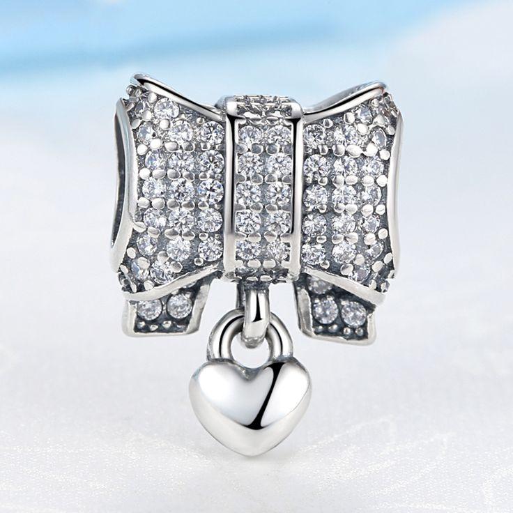 أصيلة الأصلي 100% s925 الفضة الاسترليني سحر القلب و القوس كريستال الخرز صالح باندورا أساور diy هدية مجوهرات