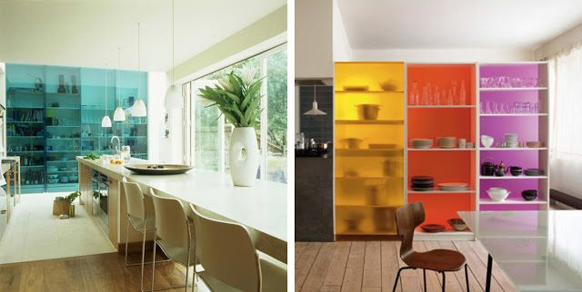 {BLACK. WHITE. YELLOW.}: Bookshelves With Colored Glass...
