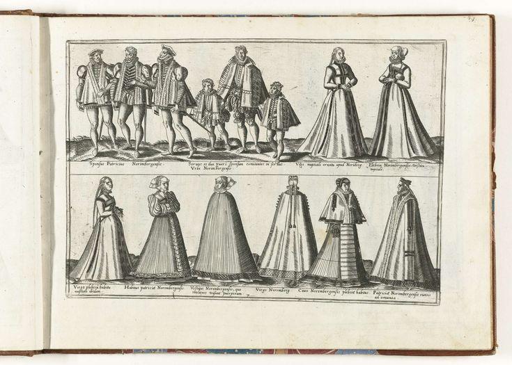 Vrouwen en mannen gekleed volgens de mode in Duitsland, ca. 1580, Abraham de Bruyn, 1581
