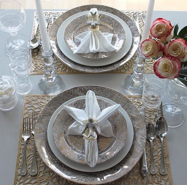 A table set for two love birds. Doves! Wishing everyone peace and much love in the New Year. #JuliskaJoy #nye2015