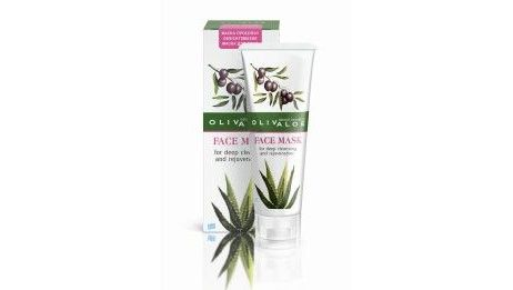 Olivaloe face mask with green clay and organic olive, organic aloe, chamomile, ivy, and green tea extracts