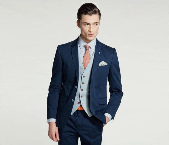 Latest Coat Pant Designs Navy Blue Casual Groom Custom Beach Slim Fit Wedding Suits For Men Summer Simple 3 Pieces Terno Y2