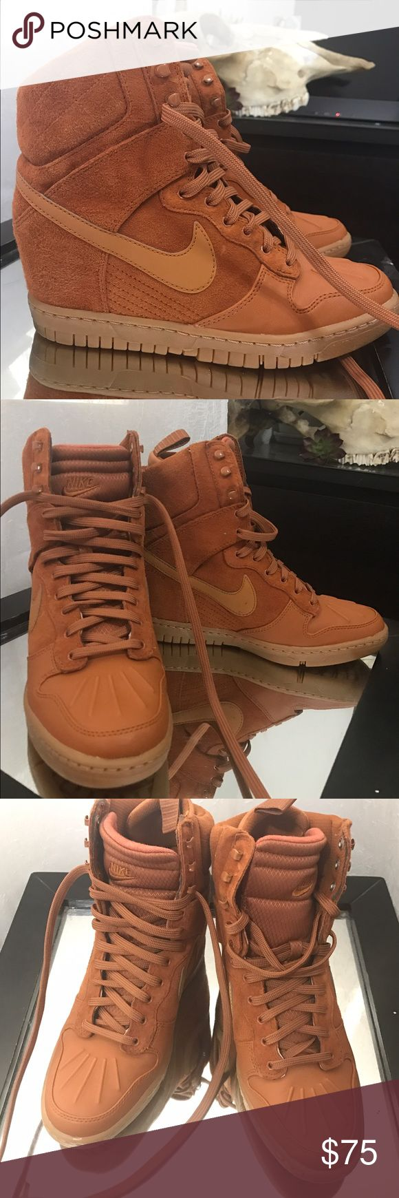 Nike Sky Hi Wedges Suede sky hi wedges with hidden heel inside. Super comfortable, I could run in these if I wanted to.  These are just a little too big for me. Ordered them online and worn once indoors. They are a beautiful cognac color. Size 7.5, like new condition! ACCEPTING OFFERS Nike Shoes