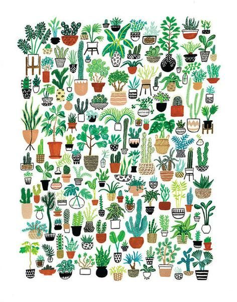 """Bring some major plant action into your life! This Plant Party print depicts a ton of colorful houseplants, cacti and succulents in different patterned pots. Whether you're a green thumb or you can't keep plants alive (like me), this print would look great on the wall of any plant lover!  This reproduction of the original gouache painting is professionally printed in the USA on an 11"""" x 14"""" piece of sturdy watercolor paper. It will fit into any standard 11"""" x 14"""" frame of your choosing…"""