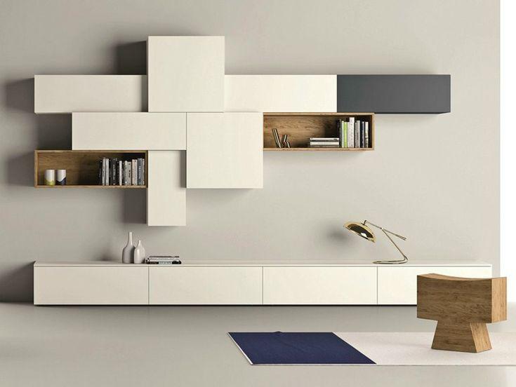 Parete attrezzata componibile laccata SLIM 88 Collezione Slim by Dall'Agnese | design Imago Design, Massimo Rosa