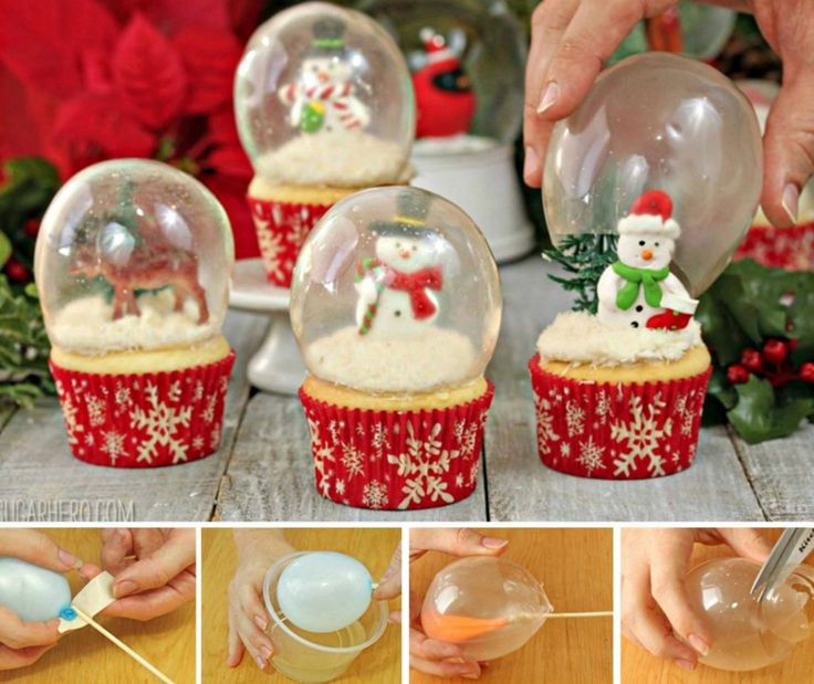 These Snow Globe Cupcakes with Gelatin Bubbles are easy to make when you know ho…
