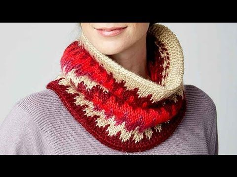Tunisian Fair Isle Stitch Cowl - The Crochet Crowd ༺✿Ƭeresa Resteguiღ✿༻